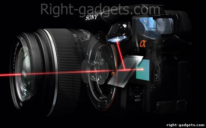 Принцип работы полу прозачного зеркала в Sony SLT a-55